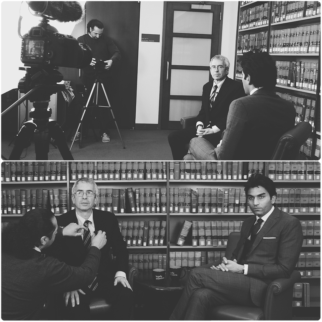 Masar filming an interview at Columbia Law School