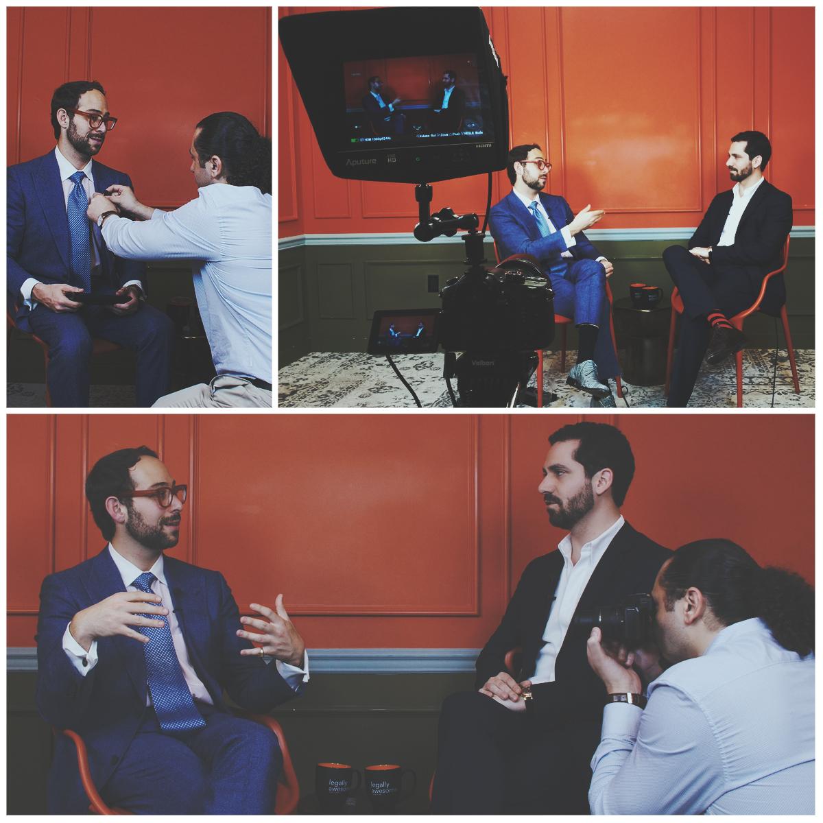 Masar filming an interview with Harvard Law School Professor