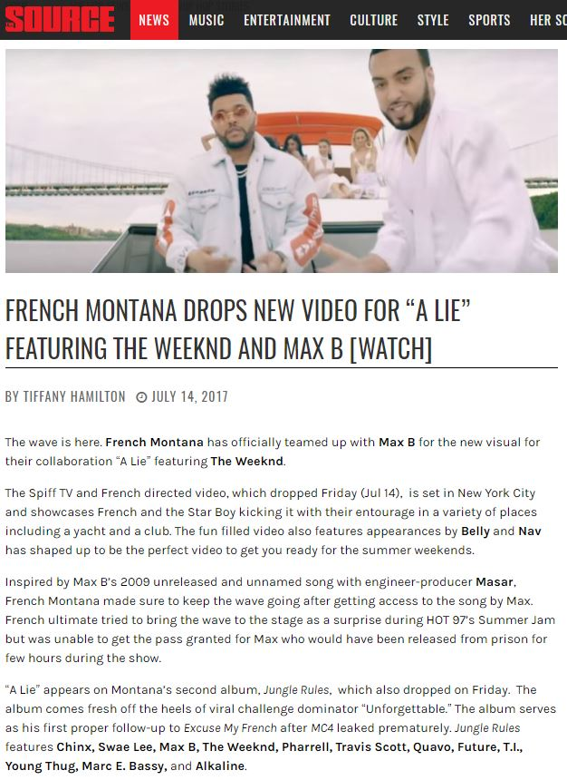 MasarTv credited on different blogs reviews for French Montana's Album 'Jungle Rules'