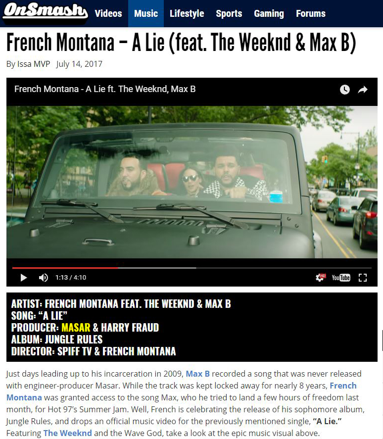 onsmash French Montana The Weeknd Max B A Lie Masar Tv
